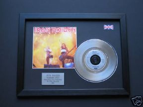 "IRON MAIDEN - Running Free 7"" platinum DISC with Cover"